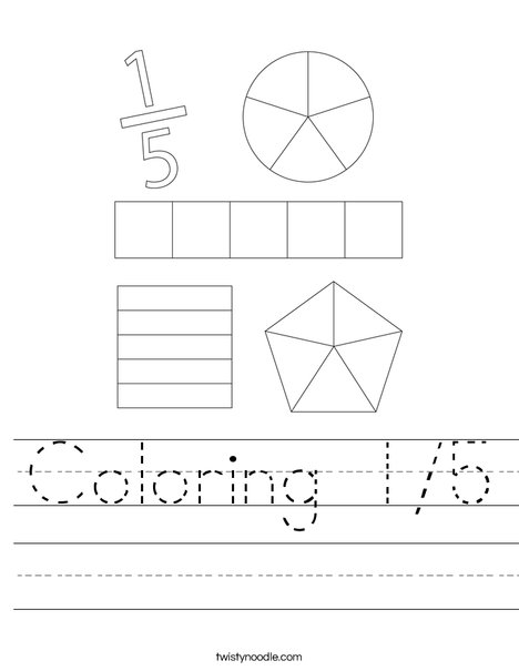 Coloring 1/5 Worksheet