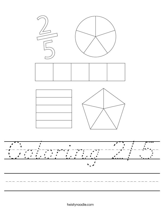 Coloring 2/5 Worksheet