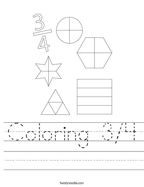 Coloring 3/4 Worksheet