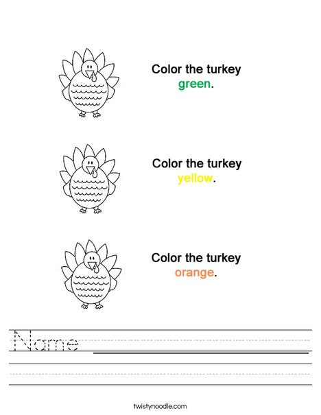Colortheturkeys Worksheet