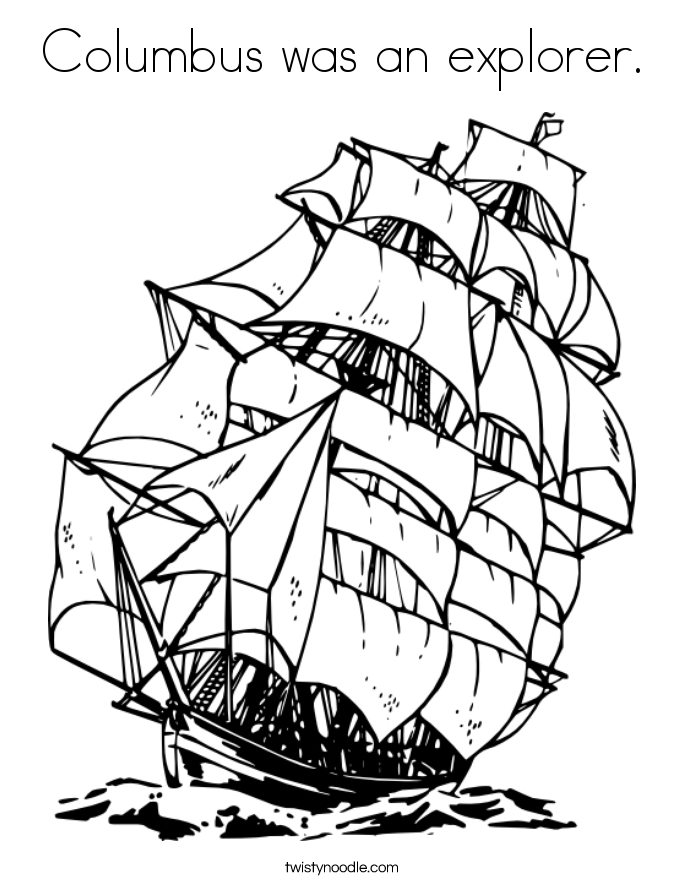 Columbus was an explorer. Coloring Page