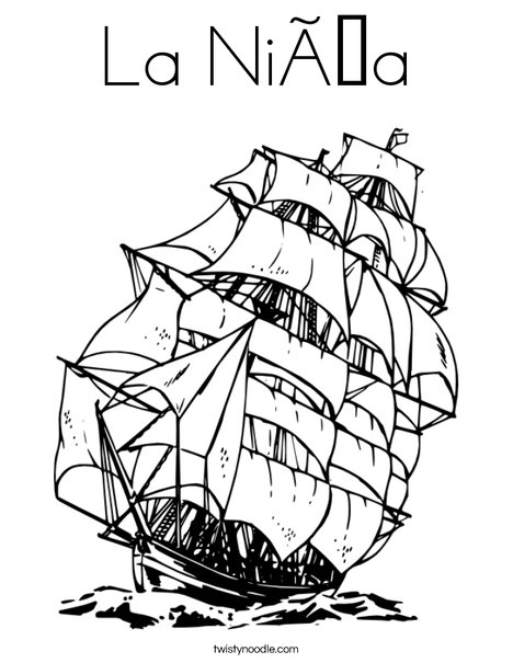 Columbus Day Ship Coloring Page