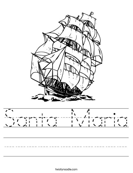 Columbus Day Ship Worksheet