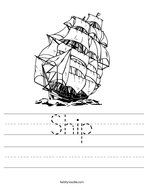 Ship Handwriting Sheet