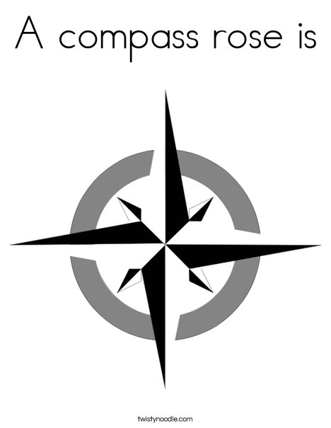 A compass rose is Coloring Page Twisty Noodle
