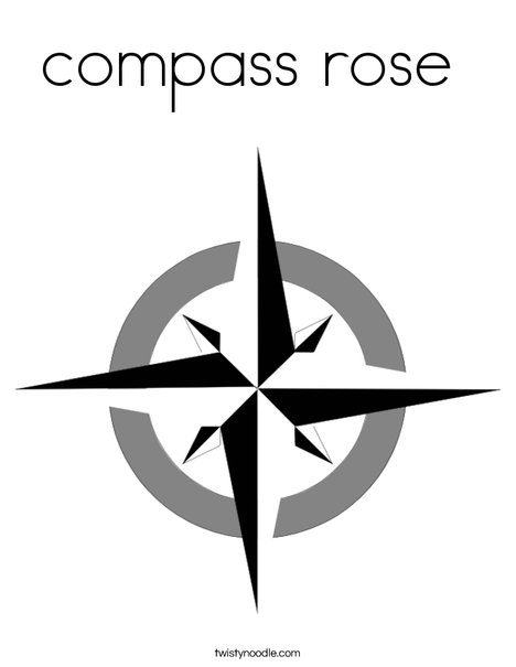 compass rose coloring page - twisty noodle