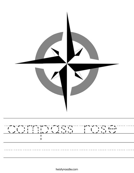 photograph relating to Picture of a Compass Rose Printable titled comp rose Worksheet - Twisty Noodle