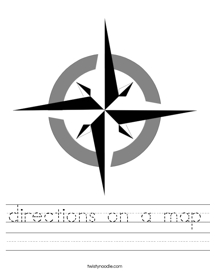 directions on a map Worksheet