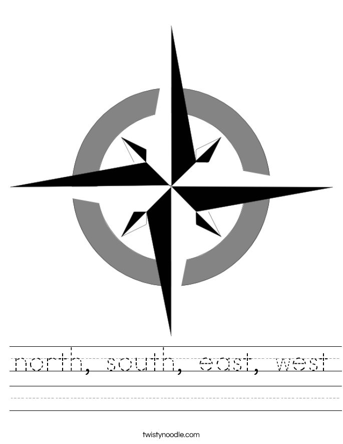 north, south, east, west Worksheet