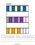 Complete the patterns Handwriting Sheet