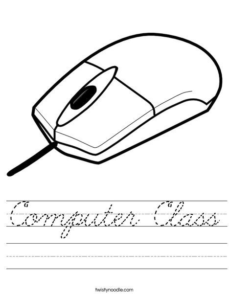 Computer Class Worksheet - Cursive - Twisty Noodle