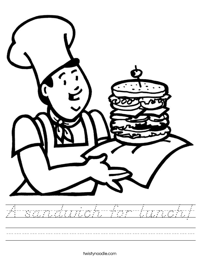 A sandwich for lunch! Worksheet