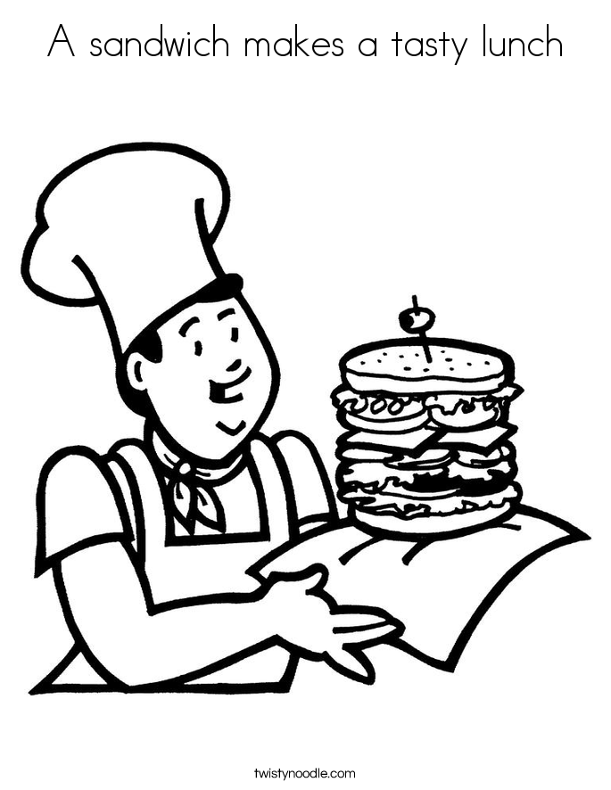 A sandwich makes a tasty lunch Coloring Page