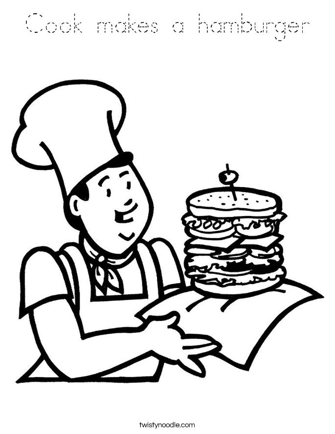 Cook makes a hamburger Coloring Page
