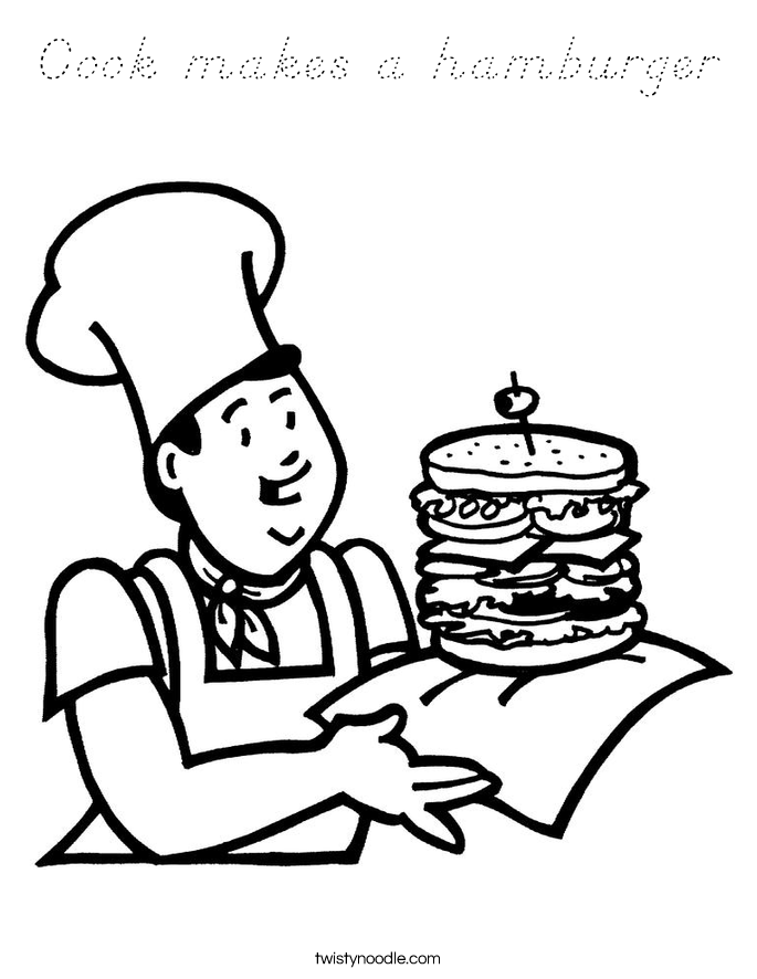 Cook makes a hamburger Coloring Page