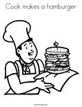 Cook makes a hamburgerColoring Page