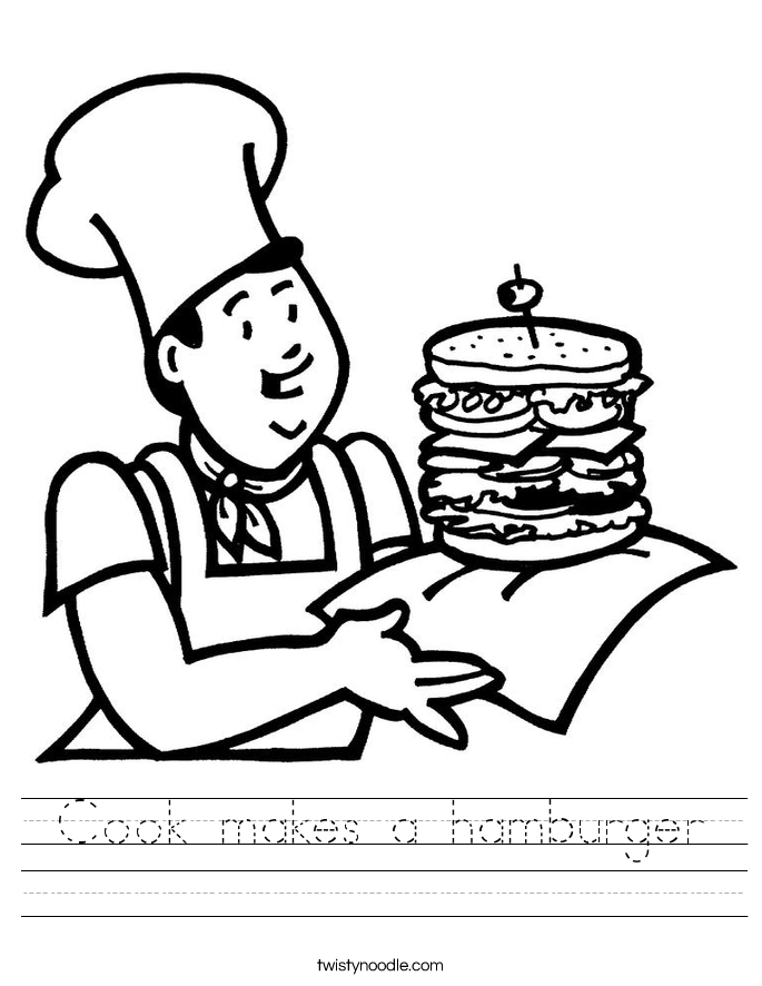 Cook makes a hamburger Worksheet