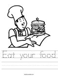 Eat your food Worksheet
