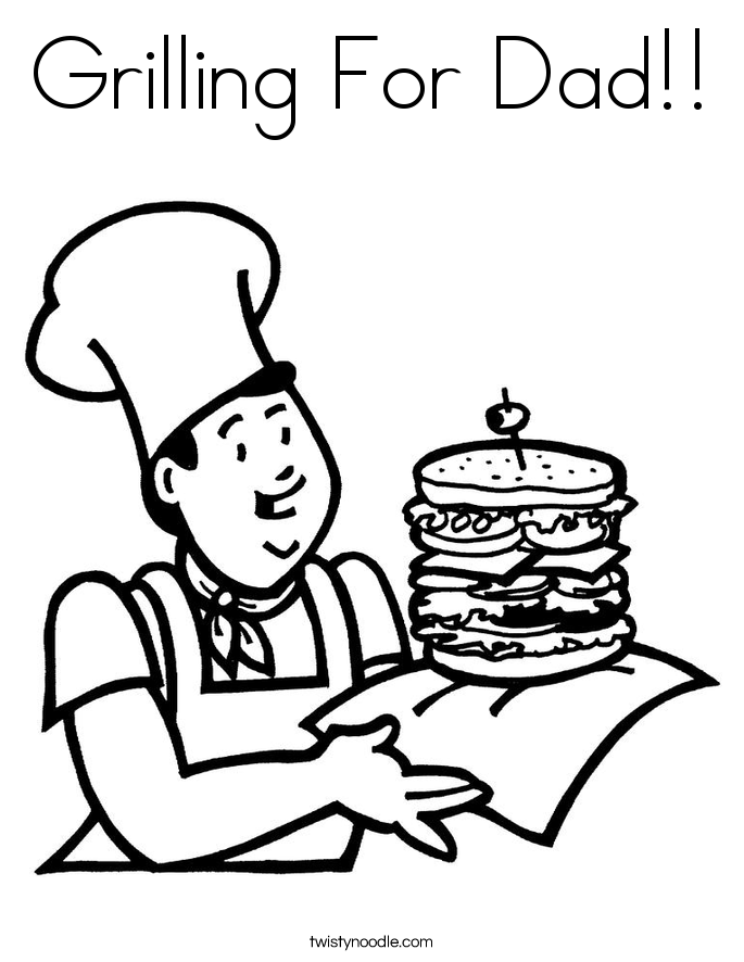 Grilling For Dad!! Coloring Page