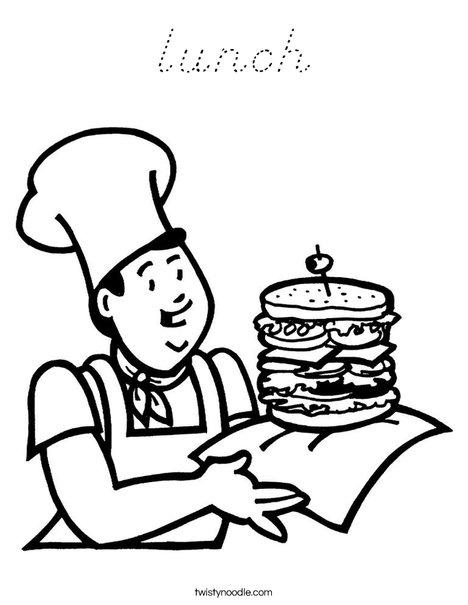 Cook with Sandwich Coloring Page