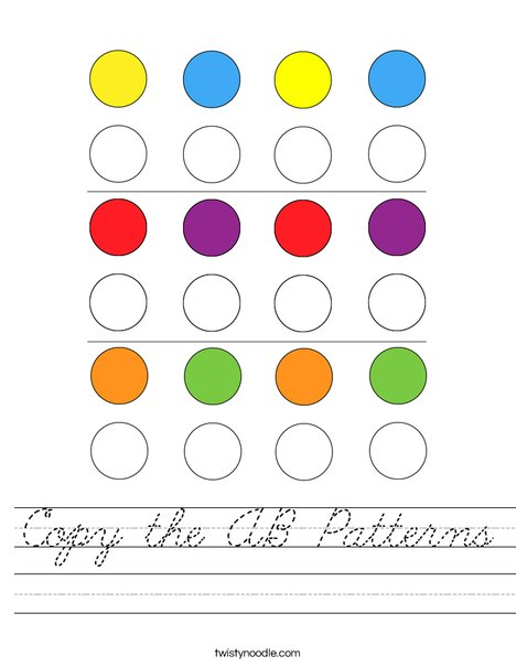 Copy the AB Patterns Worksheet