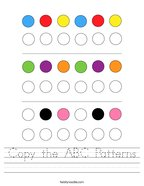Copy the ABC Patterns Handwriting Sheet