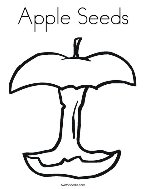 Apple seeds coloring page twisty noodle for Pumpkin seed coloring page