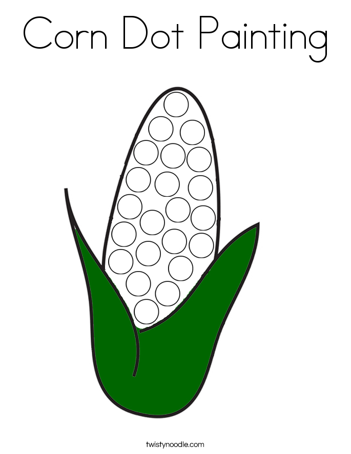 Corn Dot Painting Coloring Page