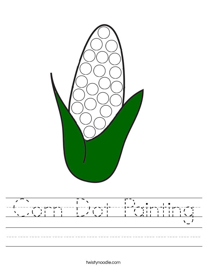 Corn Dot Painting Worksheet
