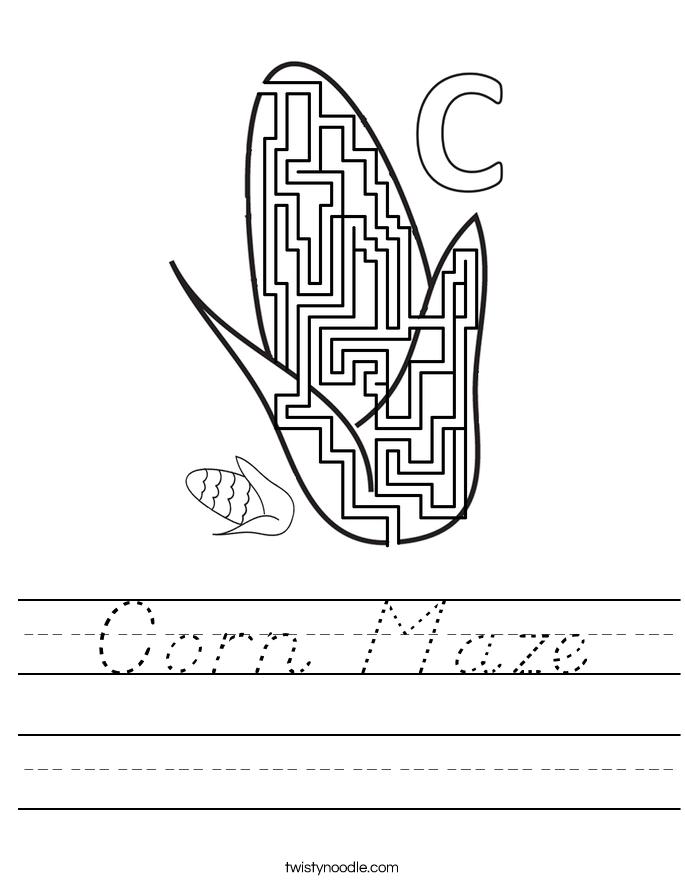 Corn Maze Worksheet