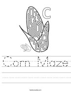 Corn Maze Handwriting Sheet