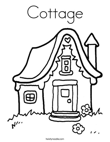 Cottage Coloring Page Twisty Noodle For Retro House Pages Victorian At