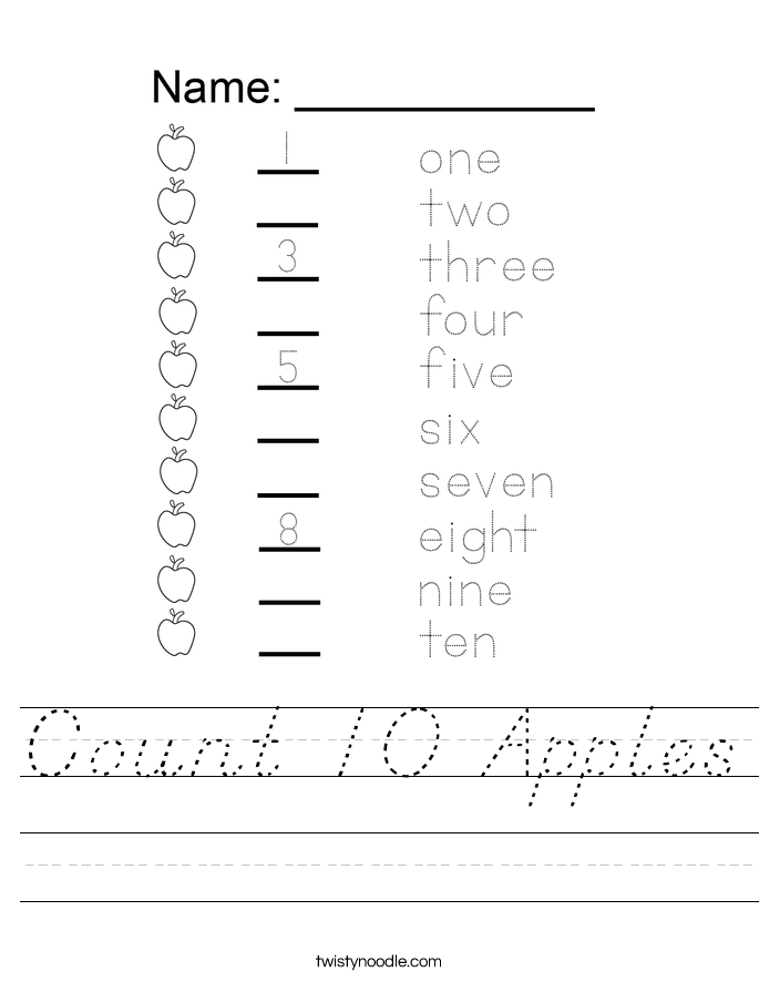 Count 10 Apples Worksheet