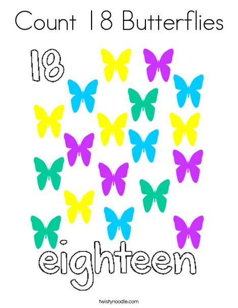 Count 18 butterflies Coloring Page