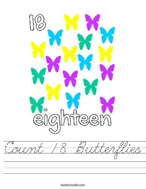 Count 18 butterflies Worksheet