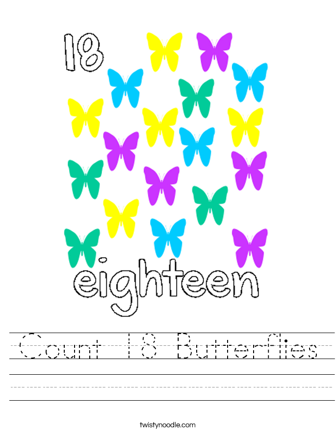 Count 18 Butterflies Worksheet