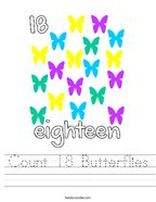 Count 18 Butterflies Handwriting Sheet