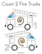 Count 2 Fire Trucks Coloring Page