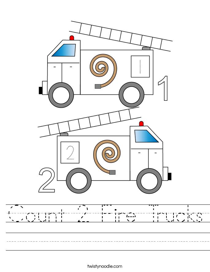 Count 2 Fire Trucks Worksheet