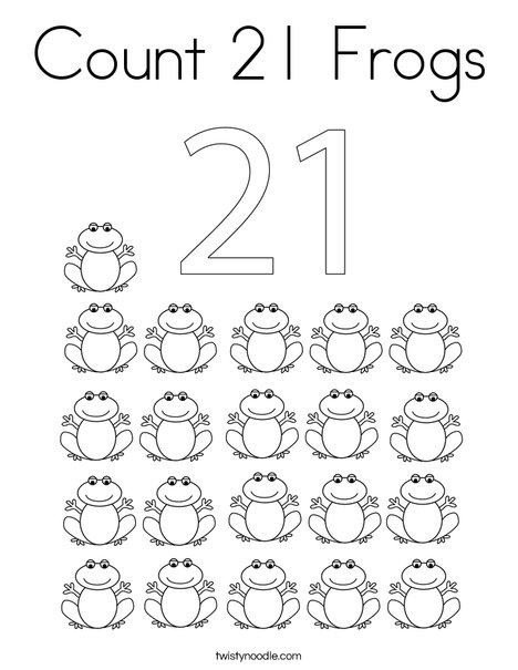 Count 21 Frogs Coloring Page