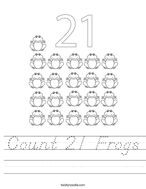 Count 21 Frogs Worksheet