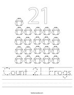 Count 21 Frogs Handwriting Sheet