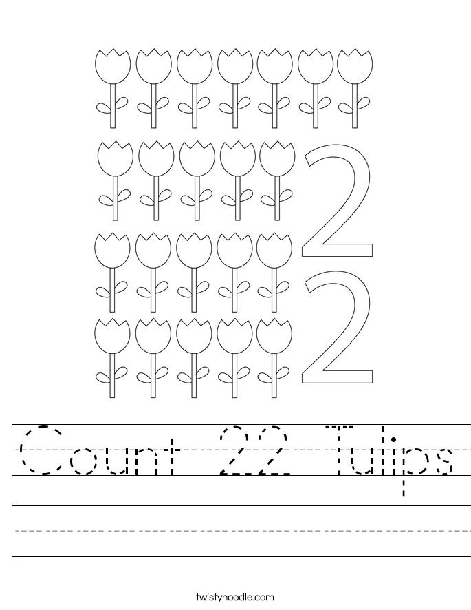 Count 22 Tulips Worksheet