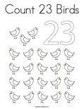 Count 23 Birds Coloring Page