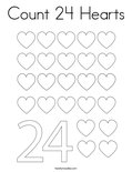 Count 24 Hearts Coloring Page