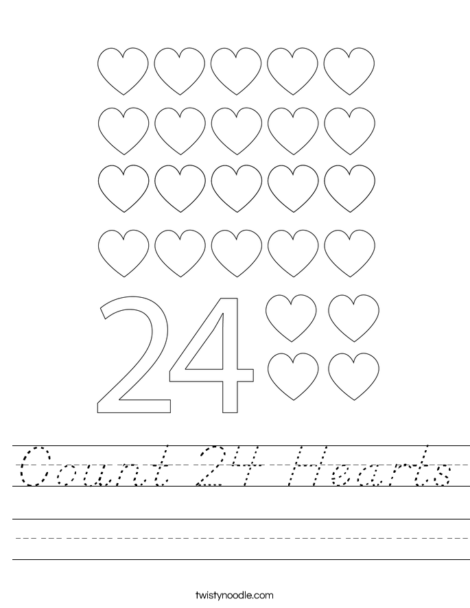 Count 24 Hearts Worksheet