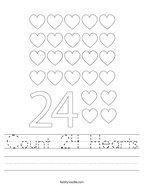 Count 24 Hearts Handwriting Sheet