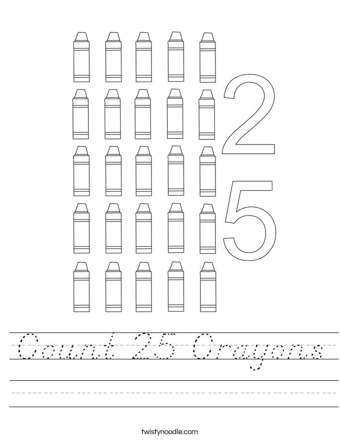 Count 25 Crayons Worksheet