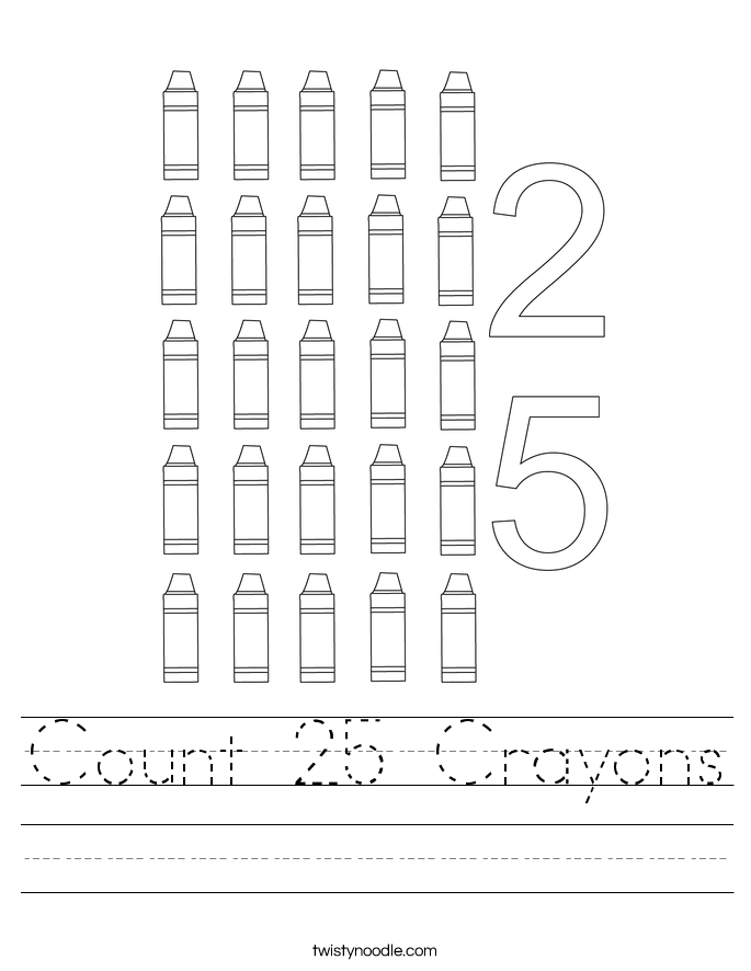 Count 25 Crayons Worksheet