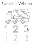 Count 3 Wheels Coloring Page